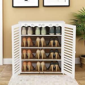 4 Tier Wooden Shoe Cabinet Footwear Stand Rack Storage Cupboard Unit Hallway UK