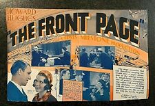 """HOWARD HUGHES PRESENTS """"THE FRONT PAGE"""" 1931 MOVIE HERALD"""