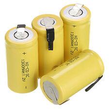 NUOVO 4PZ 1.2V 1300mAh SUB C SC NI-CD NICD batteria ricaricabile -GIALLO Set