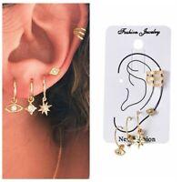 5Pcs/Set Women Crystal Evil Eye Star Ear Stud Earrings Gold Plated Jewelry