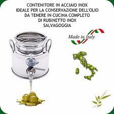 CONTENITORE INOX 18/10 LT.2 PER OLIO COMPLETO DI RUBINETTO NOX