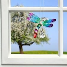 Woodstock Chimes Fantasy Glass - Dragonfly - Rainbow -Swarovski Crystal Cdrai