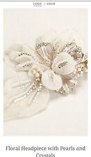 David's Bridal Floral Headpiece w/ Pearls & Crystals, C9048, Gold ($189.95)