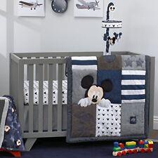 Disney Mickey Mouse 4 Piece Hello World Denim/Star/Icon Nursery Crib Bedding Set