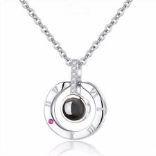 Plated Roman Numerals Pendant Memory of Love 100 I Love You Necklace Rose Gold
