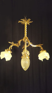 Antique bronze chandelier Manufactured with solid, chiseled and polished bronze