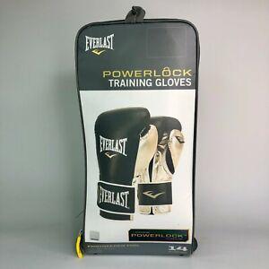 Everlast 14 Ounce Powerlock Hook & Loop Training Gloves - Black & Gold
