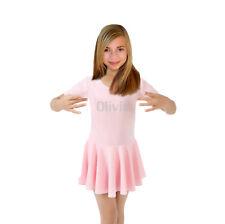 Personalised girls Pink Ballet Leotard with Skirt Dance Costumes dancer dress