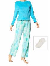 HUE Women's Blue Trees Sueded Fleece Long Sleeve Tee & Pant Pajama Set – XL NWT