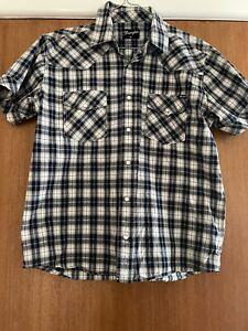 Wrangler Vintage Pearl Snap Button Up Check Shirt Size Men's M Short Sleeve