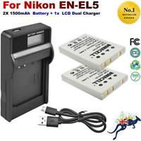 EN-EL5 Battery+LCD Charger for Nikon Coolpix P530  P80 P90 P100 P510 P3 4200 AU