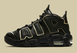 NIKE AIR MORE UPTEMPO GS YOUTH SIZE UK 4.5 EUR 37.5 (DD3038 001) BLACK / GOLD