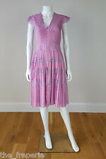 *TEMPERLEY* LONDON 100% SILK PLEATED LACE TRIMMED LILAC SUMMER DRESS (10)