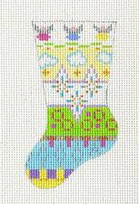 """*FINAL* dede """"3 Angels"""" Mini Stocking Handpainted HP Needlepoint Canvas 18 Mesh"""