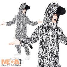 Deluxe Zebra Jumpsuit + Hood Adult Fancy Dress Farm Animal Black & White Costume