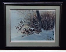 BERNARD MARTIN WILDLIFE PRINT QUAIL 1985 SNOWBOUND COVEY