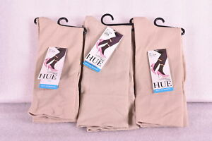 LOT OF 3 Women's HUE Ultra Smooth Crew Socks, Chino Tan, One Size