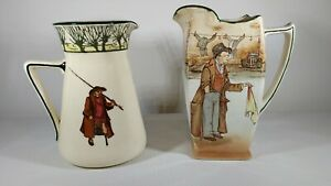 Vintage Royal Doulton Dickens Ware Pitchers - Artful Dodger & Gallant Fisher's