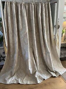 Vintage Grey Linen Embroidered French Damask INTERLINED Blackout Large Curtains