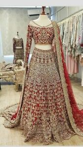 Golden Zari Embroidery Mirror Work Choli Lehenga Pakistani Bridal Wear Lengha