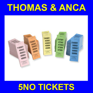 Raffle Tickets 5 No 1 Perf Raffle Ticket Club Draw Numbered 1-100,000 5 Colours