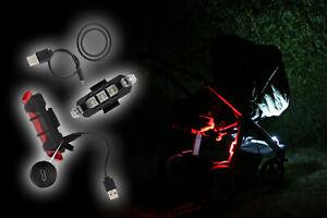 LED Kinderwagen Beleuchtungs Set (Kinderwagenlicht, Akku per USB aufladbar) TOP!