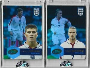 2004 eTopps Steven Gerrard #1342 and David Beckham #4676 England Football Soccer
