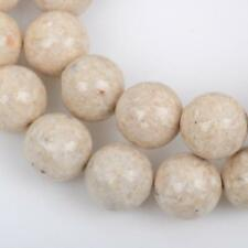 8mm Round WHITE FOSSIL STONE Beads Smooth full strand, Natural Gemstones Gaf0005
