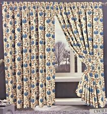 JACQUARD TEAL CREAM 90 X 90 READY MADE LINED PENCIL PLEAT CURTAINS CECILE STYLE