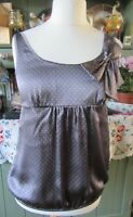 Jacob Ladies Genuine Silk Dark Grey Spotted pattern Top With Bow Detail Size M