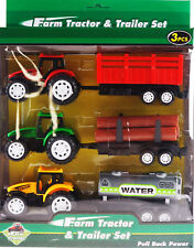 3 Piece Plastic Tractor Trailers Farm Vehicles Toy Play Set