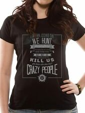 Supernatural Crazy People (Fitted) T-Shirt Womens Top Black XL