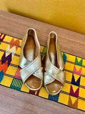 60s vintage mod women's handmade gold leather flats size 7 boho