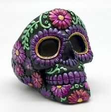 Metallic Purple Floral Sugar Skull Day of the Dead Ashtray Dia de Los Muertos