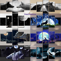Awesome Moon Wolf Poster Wolves Painting Wall Art Home Decor 5 pcs Canvas Print