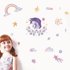 Fairy Unicorn Rainbow Stars Art Decal Kids Nursery Vinyl Wall Sticker Home Decor