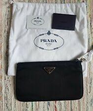Prada Black Tessuto Nylon Pouch Case Clutch Silver Prada Logo Brand New