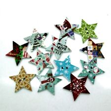 50 CHRISTMAS STAR Buttons - Wood - Scrapbooking - Crafting - Sewing - UK Seller!