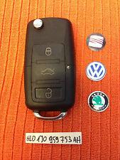 VW SEAT SKODA 3 Buttons Remote Key Fob 1J0 959 753 AH 1J0959753AH BLADE CUT FREE