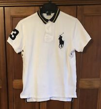 POLO Ralph Lauren WHITE Big Pony Embroidered #3 Rugby Style Shirt Size Medium