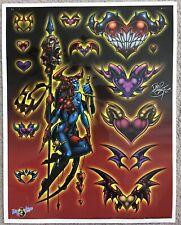 "Tattoo Studio Shop Flash Single By David Bollt Demon Hearts Goth 11""X14"" Print"