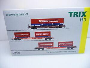 "Trix H0 24425 | Containerwagen Set ""Winner"" Sdgkms 707 / Sgns 691 DB AG Ep. V"
