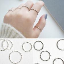 Schmaler Damen Ring 1,2 mm Twist Verdrehte echt Sterling Silber 925 Antik dünn