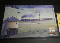 "GRENADA ""TRENI LOCOMOTIVE FERROVIE TRASPORTI TRAINS"" NUOVO MNH** BLOCK (CAT.7)"