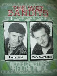 HOME ALONE MERRY CHRISTMAS YA FILTHY ANIMAL T SHIRT Marv Harry Crooks Bandits LG