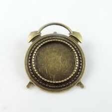 8PCS Vintage Bronze Alloy Alarm Clock Cameo Setting Pin Brooch Base 20*20mm