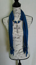 Womens Bling Rhinestone Cross Bead Silver Denim Blue Scarf With Jewelry