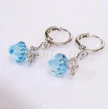 White Gold Plated Blue Quality Crystal Snap Closure 3cm Dangle Hoop Earrings