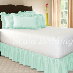 """15"""" Drop Dust Ruffle Bed Skirt 800 TC Egyptian Cotton Solid Twin/Full/Queen/King"""