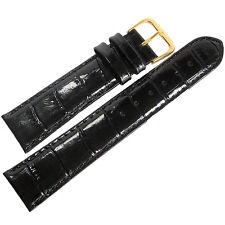 18mm Mens Fluco Black Crocodile-Grain Leather GOLD Buckle Watch Band Strap